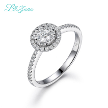 L&zuan 18K White Gold Ring 0.5ct Natural Diamond Romantic Rings Fine Jewelry For Women