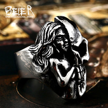 Beier new store 316L Stainless Steel ring Newest Design Ghost Skull The Goddess Of Mercy Ring Wholesale Price Punk LLBR8-416R(China)