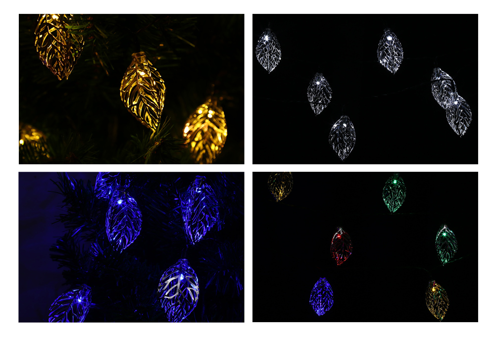 VCT - SLC - 041 20 LEDs Iron Tree Leaf Solar String Light for Holiday Home Party Garden Decoration