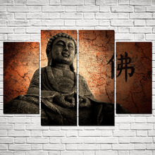 4 Panels Old Buddha Canvas Print Painting for Living Room Wall Art Picture Gift Home Decoration FOU017(China)