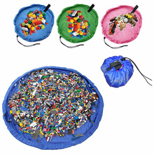 Portable Kids Toy Storage Bag and Play Mat Lego Children Toys Organizer Bin Box Drawstring Collection Practical Storage Bags