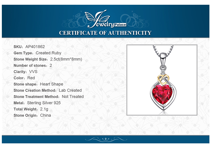 JewelryPalace Love Knot Heart 2.5ct Created Red Ruby Anniversary Pendant 925 Sterling Silver 18K Yellow Gold Without a Chain 29