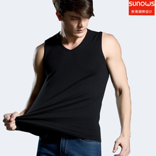 Men's all cotton Solid color seamless underwear clothing close-fitting broad shoulders V/O-neck vest comfortable undershirt(China)