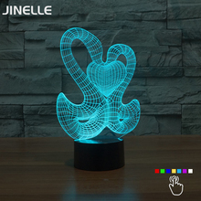Jinelle LED Night light Double goose with heart 3D USB visual Creative menu card LED Acrylic Table Desk Lamp Decoration lamp