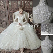 French lace fabric black Ivory white embroidered applique High-end wedding dress accessories Handmade DIY RS380(China)