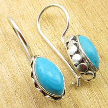 Sparkling MARQUISE Turquois SIMPLE Earrings Silver Plated Jewelry 1 Inch NEW