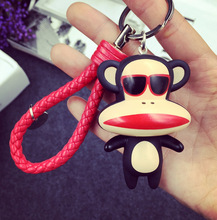 Big Lipstick Mouth Monkey Absolutely Cute Keychain Pendant With PU Rope For Fashion Woman's Bag Charms Ornament Accessory