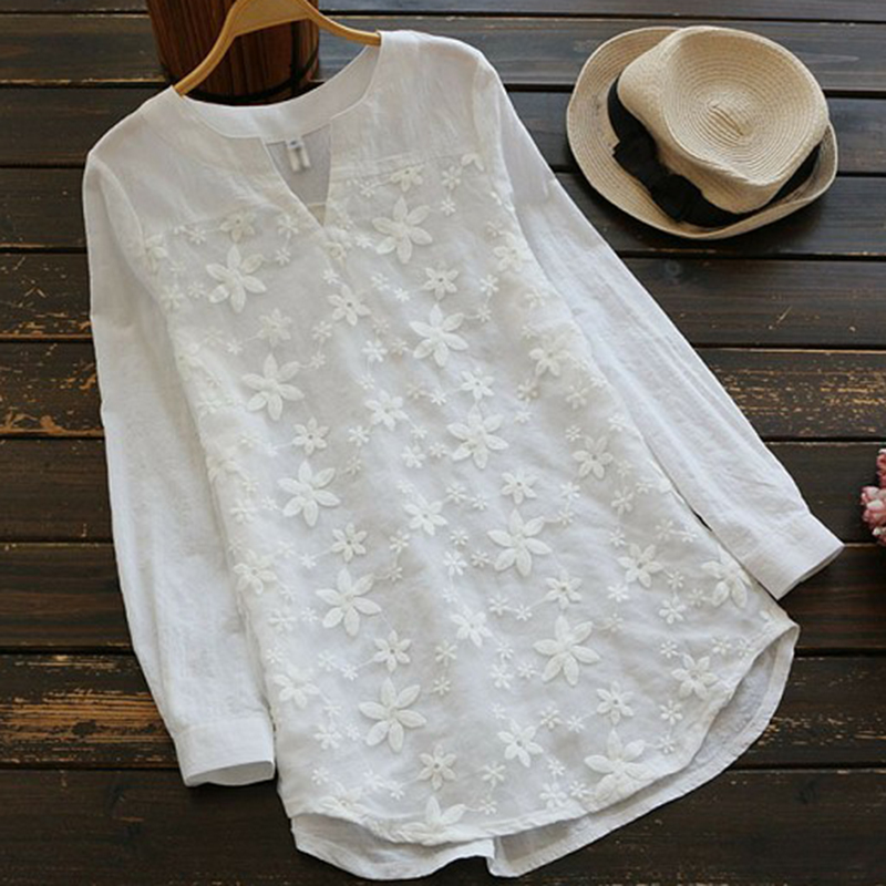 2018 S-5XL Women V-Neck Organza Long Shirts Oversized Tops Floral Embroidered Shirt Blouse White Lace Sweet Long Sleeve Blouse
