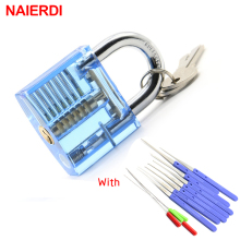 NAIERDI Transparent Visible Pick Cutaway Practice Padlock Lock With 12PCS Blue Broken Key Removing Hooks Lock Locksmith Tool
