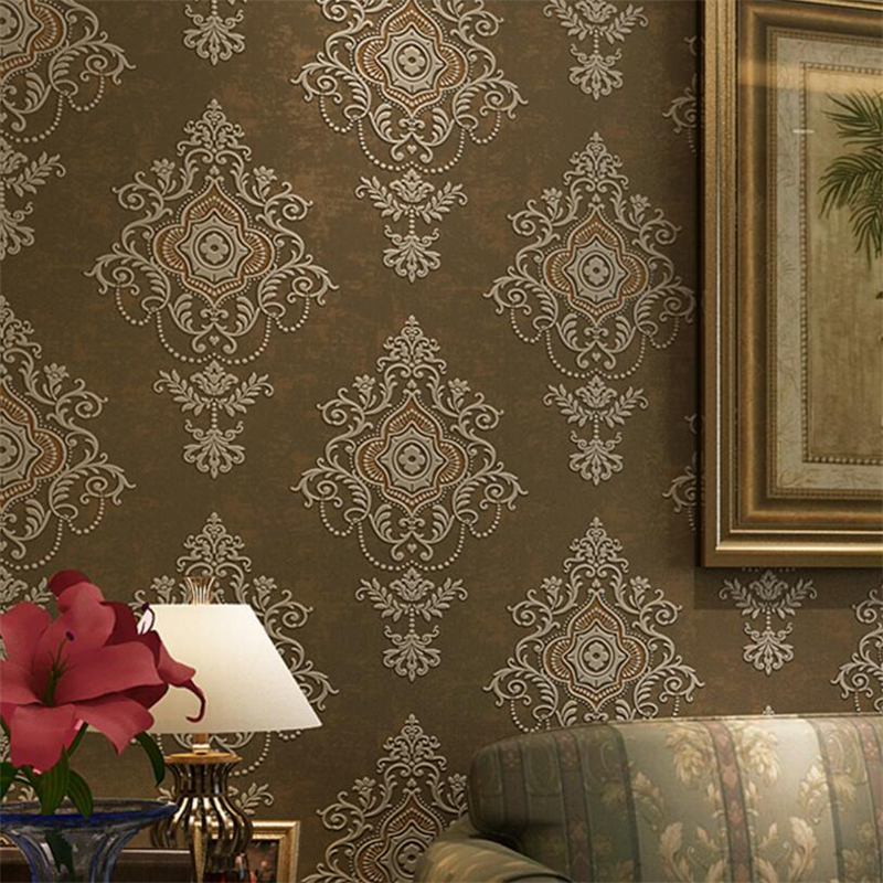 Beibehang Retro European Style Hot Stamping Nonwovens Wallpaper Living Room Restaurant Bedroom Background Relief 3d Wallpaper<br>