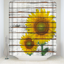 CHARM HOME Waterproof Sunflower On Wooden Polyester Fabric