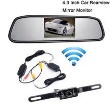"TOP Quality 1PC 4.3""LCD Car Rear View Mirror Monitor Wireless Night Vision Backup Reverse Camera #0703(China)"