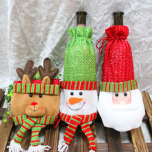 Christmas decorations Xmas Santa Claus red Wine bottle bag snowman elk champagne Cover Party home Supplier Dinner Table decro(China)