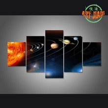5 Pieces/set Canvas Art Sun in the Center of the Solar System Canvas Paintings Decorations For Home Wall Art Prints Canvas\C-142