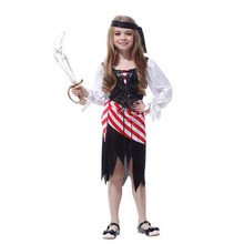 2018 Kids Girls Pirate Cosplay Costume Children's Day Stage Performance Pirates Costumes Canival Party Dress Supplies Purim(China)
