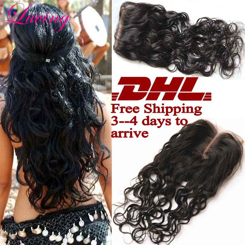 DHL Fast Shipping 7A Rosa Hair Closure Brazilian Water Wave Closure, 4x4 Free 3 part Lace Closure Bleached Knots Natural Wave<br><br>Aliexpress
