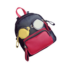 Cute Cartoon Women Women Backpack Mini Patchwork Hit Color Novelty Bags School Bags For Teenagers Girls Rucksack Mochila(China)