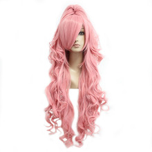 MCOSER Free shipping Synthetic 90cm Long Curly Pink Cosplay Costume Wig+one ponytail 100% High Temperature Fiber 208A