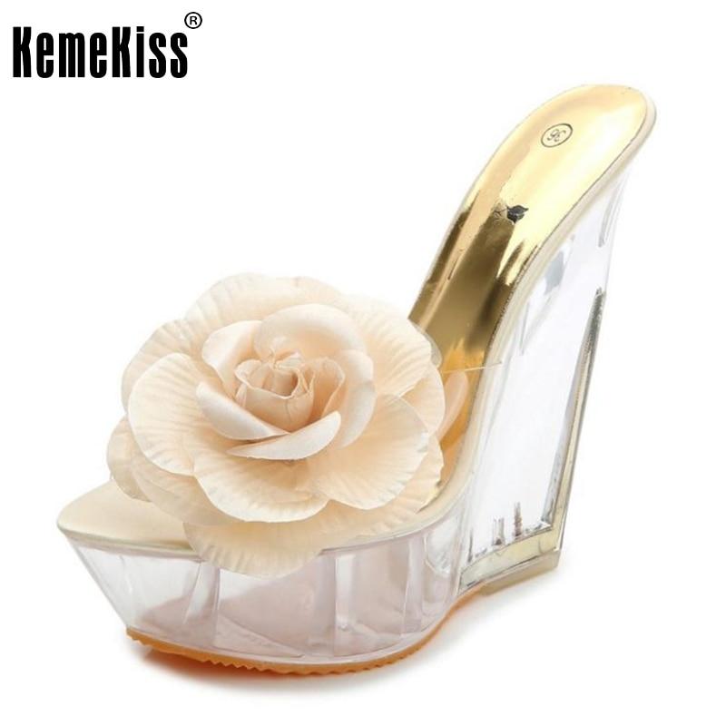 Ladies Wedges High Heel Sandals Women Platform Flower See Through Heel Shoes Fashion Brand Party Footwear Size 34-39 <br><br>Aliexpress