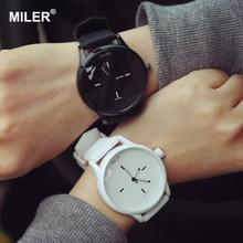 Original MILER Brand Soft Silicone Strap Jelly Quartz Watch Wristwatches for Women Ladies Lovers Black White(China)