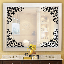 60x37cm Flowers Vine Art Corner Stickers Mirror Cabinet Decoration Wall Sticker DIY Cabinet Mirror Bathroom Decals Home Decor