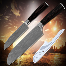 Cooking tools stainless steel 2*santoku 5 inch 7 inch kitchen knives pakka wood handle laser etched Damascus veins kitchenware