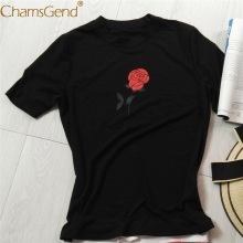 Chamsgend Drop Shipping Newly Design Women Casual Rose Flower Print Short Sleeve Round Neck Hip Hop Hole T Shirt 80212(China)