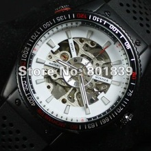 Silicone Automatic / Wind up White Dial Sport Analog Rubber Band Mechanical Mens Wrist Watch Nice Gift Wholesale Price A375(China)