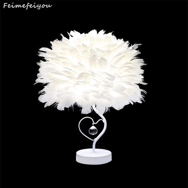 Feimefeiyou Newest Style Best Valentines Day Gift For Lover Heart Shape Feather Crystal lampada led Table Lamp 3 styles switch<br>