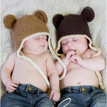 Handmade Knitted Crochet Baby Hat Infant Monkey Hat with Ear Flap Kids Animal Beanies Crochet Cap Winter Cap BH0824