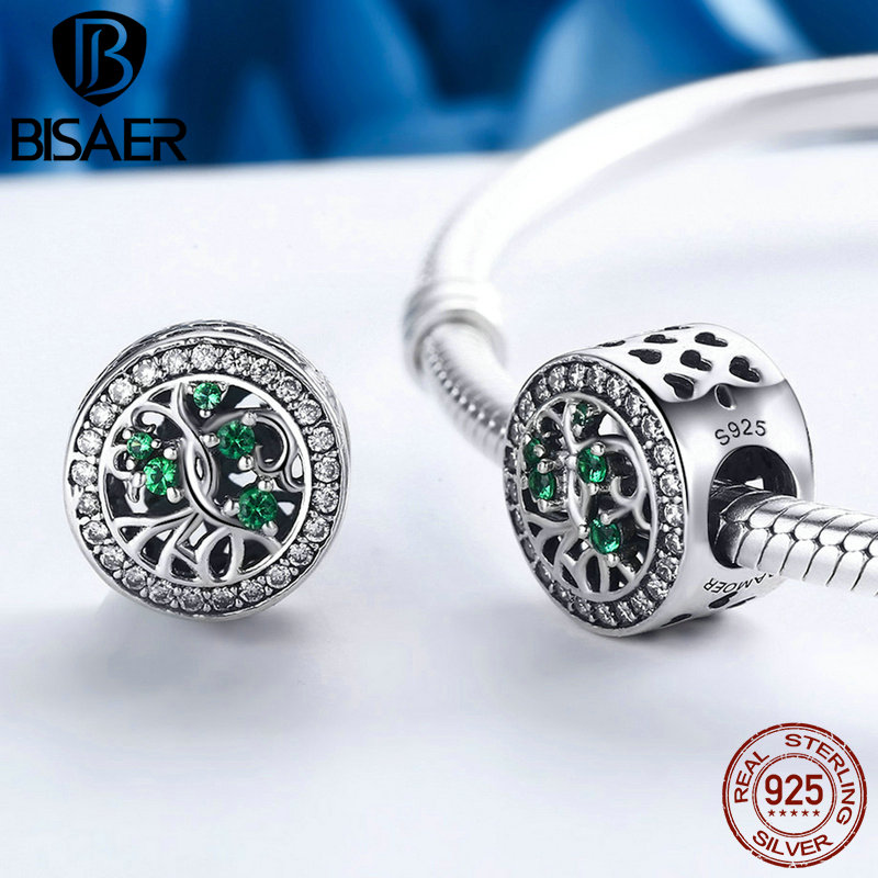 Authentic 100% Real 925 Sterling Silver Tree Of Life ,Green CZ Beads fit Bead Bracelet Original Silver 925 Charms Jewelry Making
