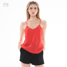 PK red tank top women summer 2017 candy color coat chiffon unlined camisole sexy tops upper garment sleeveless vest top(China)