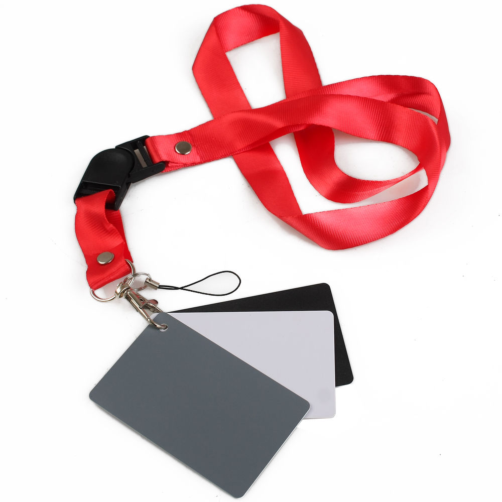 3 in 1 White Black Gray Balance Digital Card kit Pocket-Size 18% Gray Card with Neck Strap for Digital Photography1