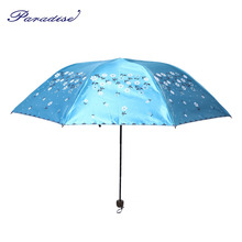 Paradise Women Rain Umbrella Children Print Flower Three-folding Metal Umbrella black Coating Sunny And Rainy Umbrella Parasol