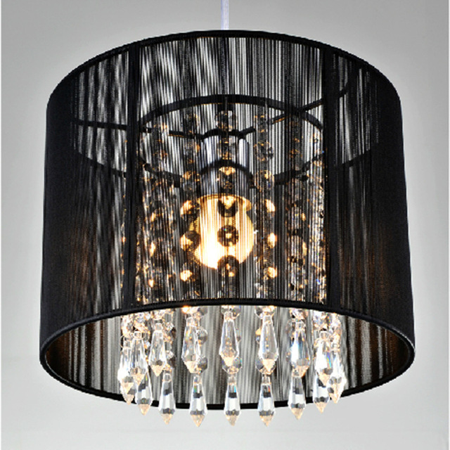 Modern crystal chandelier importers K9 crystal lustres de cristal fixture Black White fabric chandelier for living bedroom lamp<br>