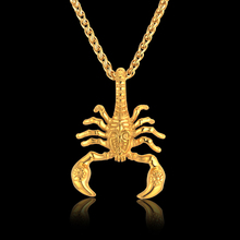Gold Statement Necklace Unique Scorpion Neck Necklaces Pendants for Men Gold Color Punk Stainless Steel Men Chain Collar 2016(China)