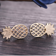 Fruit earring gold sliver color 2017 new fashion small wire drawing with pineapple surface stud earrings for women e060(China)