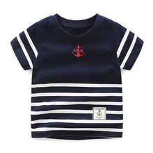 Mudkingdom Toddler Boys Summer Striped Tees United States Navy O-neck Short Sleeve Clothes Kids Cotton Casual Children Clothing(China)