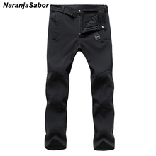 NaranjaSabor 2017 Autumn Men's Casual Pants Men Thick Trousers Add Fleece Male's Jogger Winter Warm Pants Men's Brand Clothing(China)