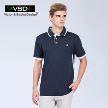VSD 6XL Breathable Loose Polo Shirt Men Cotton Polo Shirt Contrast Color Patchwork Brand Clothing White Gray Navy Green(China)