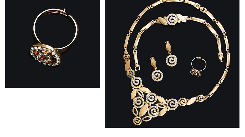 AYAYOO Indian Jewelry Sets Luxury Wedding Dubai Gold Color Jewellery Sets For Women Plant Vintage African Beads Jewelry Set (5)