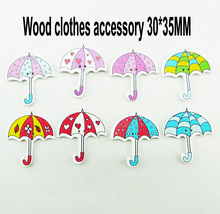 umbrella 40PCS  painting wooden buttons kid clothes accessory jewelry fit craft new button WCF-404