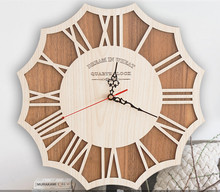 Large creative wall clock, the sitting room art wall clock restoring ancient ways, northern wind wood mute wall clock.