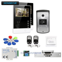 "HOMSECUR 1V2+Strike Lock 4.3"" Wired Video Door Intercom System with Keyfobs Unlocking Camera for Home Security(China)"