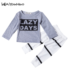 KEAIYOUHUO Spring baby clothes sets Lovely letter printing design long sleeve + personality fashion pants Toddler Clothing
