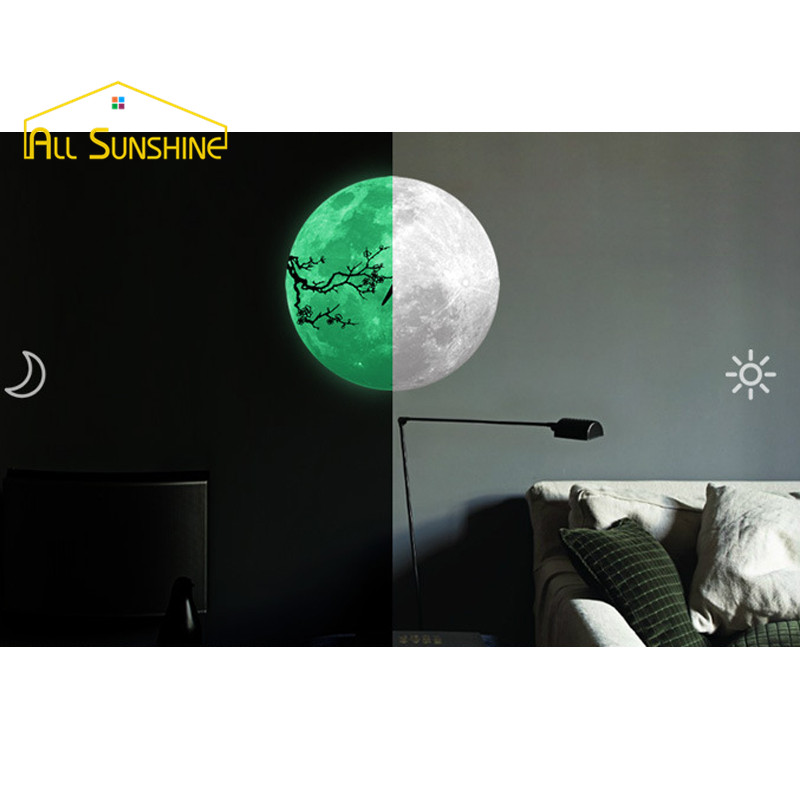 Fluorescent Luminous Wall Sticker 345X345mm Moonlight 3D Wallpaper Posters DIY Home Decal Kids Bedroom Decoration(China (Mainland))