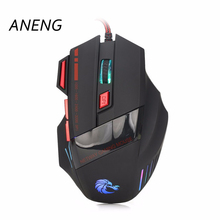ANENG Wired Mouse 3200DPI Gaming Mouse Mice 7 Keys LED Optical  Mouse Silence For Mac PC Laptop DN001