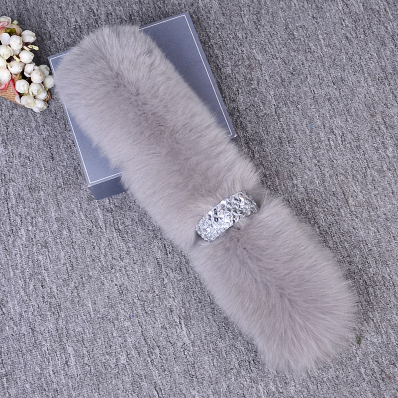 Real Fox Fur Women Winter Fashion Scarves Warm Scarf Fake Shirt Collar Lady Elegant Temperament Accessories Shawl S005-grey