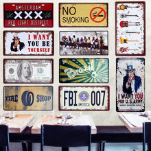America FBI 007 Car Metal License Plate Vintage Home Decor Tin Sign Bar Pub Garage Decorative Metal Sign Art Plaque 15x30cm A278(China)