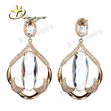 2017 New Styles Grace Whitetrendy brass jewelry glass earrings, factory price earrings for brazil market XYS100204-E(China)